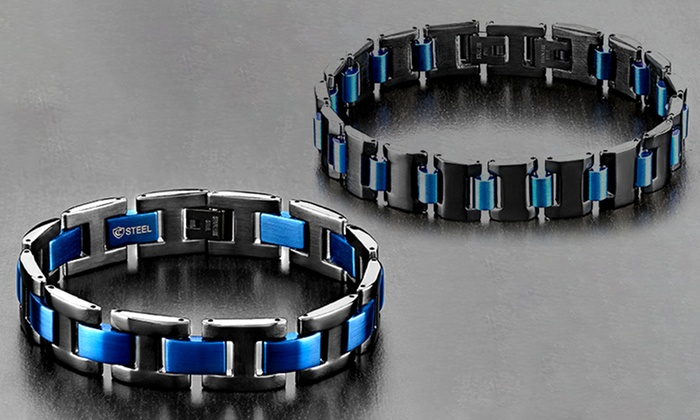 Men S Black And Blue Ion Plated Stainless Steel Link Bracelets