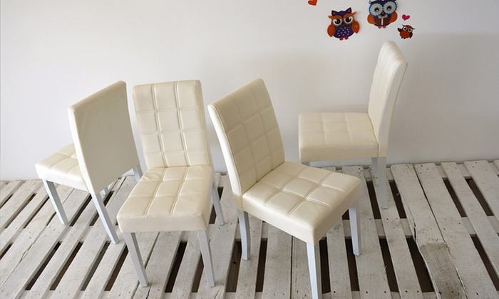 Set di 4 sedie in ecopelle | Groupon Goods