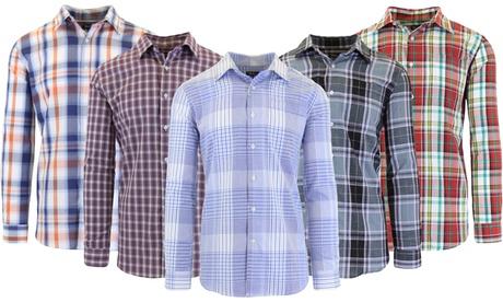Galaxy by Harvic Men's Long-Sleeve Slim-Fit Printed Dress Shirt (S–2XL)