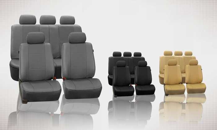 9 Piece Set Of Deluxe Faux Leather Seat Covers