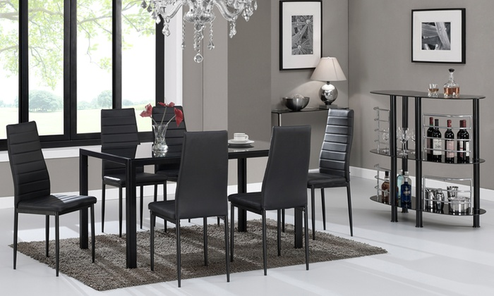 Kharkov black glass dining table groupon for Dining table set deals