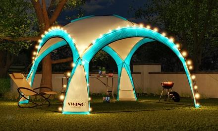 Tuintent met LEDverlichting, zonnemodule, muskietennet en zijwanden van Swing & Harmonie