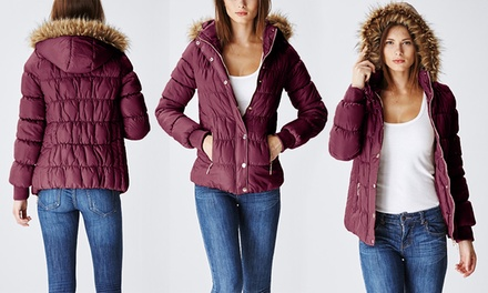 Juniors' Burgundy Quilted Puffer Jacket