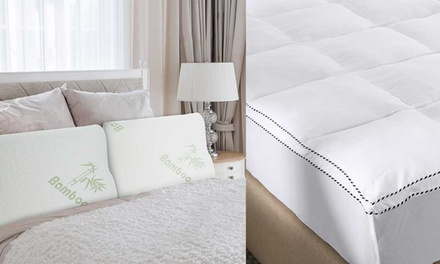 1000GSM Bamboo Fibre Mattress Topper and Twin Bamboo Pillows Queen $99 or King $119 Don't Pay up to $389
