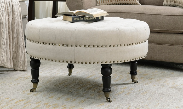 Miraculous Up To 15 Off On Belleze Round Tufted Ottoman Groupon Goods Unemploymentrelief Wooden Chair Designs For Living Room Unemploymentrelieforg