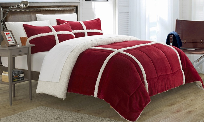 comforter a fmt tristan micro reverse set print mink sherpa with wid target hei p plaid