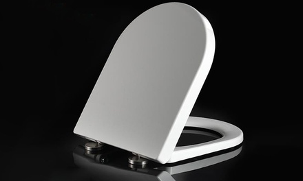 One or Two Soft-Close D-Shaped Toilet Seats with Top Fixing Hinges