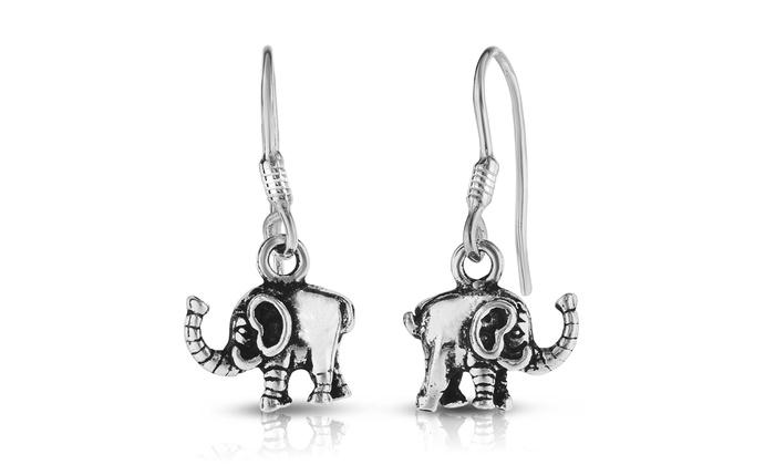 29440d8871cf1 Elephant Drop Earrings in Sterling Silver by Verona