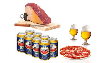 Mini jamón, mini jamonero, mini cuchillo y 8 latas de cerveza amstel 00