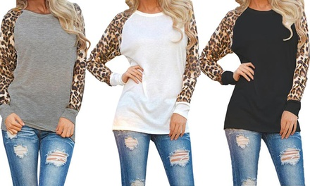 One or Two Leopard Print Long Sleeve Tops
