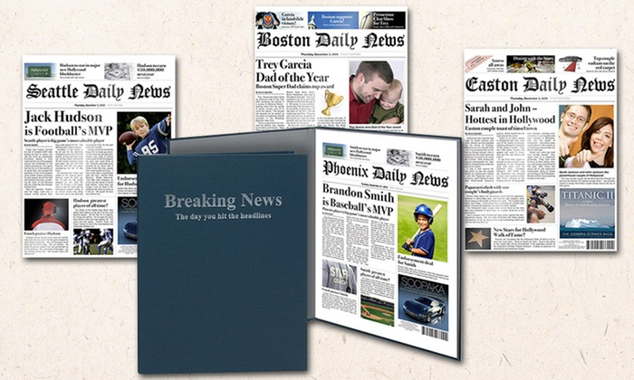 One or Two Printed Fake Newspaper Cover With Optional Case or Frame from Simply Personalized (Up to 54% Off)