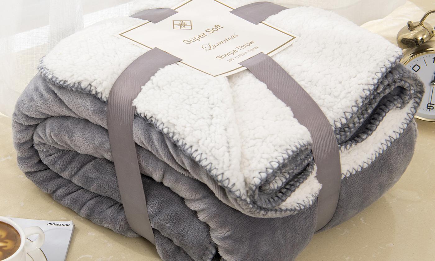 Flannel Sherpa Fleece Blanket for £12.86