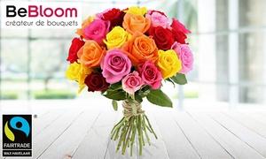 Bouquet de roses avec option 1 bouteille de champagne