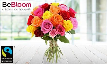Bouquet de 25 roses variées avec option 1 bouteille de champagne Grand Vintage de 75 cl dès 24,90 € sur le site Bebloom