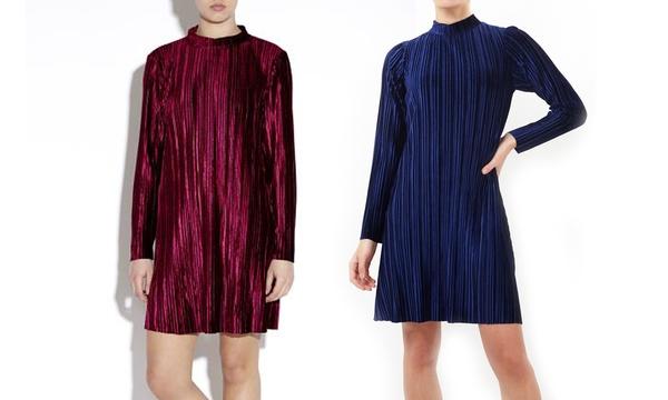 Robe Plissee Velours A Manches Longues Pour Femmes