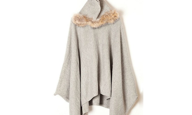 Light or Dark Grey Faux Fur Trim Hooded Batwing Coats: One ($29) or Two ($49) (Dont Pay up to $199.9)