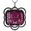 51.77 CTTW Genuine Ruby, Diamond, Sapphire Pendant in Sterling Silver