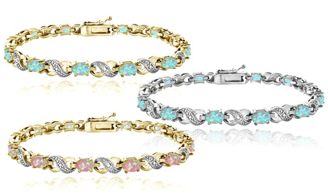 3.00 CTTW Opal and Diamond Accent Infinity Bracelets