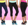 Mesh Paneled Sport Capri Leggings with Colored Waistband