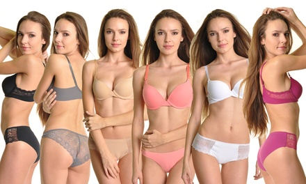 Seamless Laser-Cut Lace Push-Up Bras or Lace Panties (6-Pack)