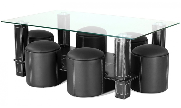 Table basse avec 6 poufs groupon shopping - Table basse avec 6 pouf ...