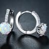 Opal Huggie Hoop Earrings in Rhodium Plating By Peermont
