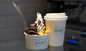 """Frischling: 2x oder 4x Frozen Yogurt, 3 Toppings und 1 Sauce nach Wahl inkl. Kaffee """"Spezial"""" bei Frischling (bis zu 53% sparen*)"""