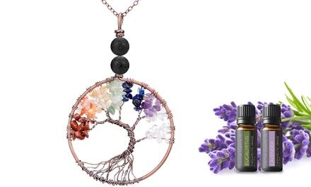 Aromatherapy Tree of Life Chakra Pendant w/ Lava Beads & Optional Oil