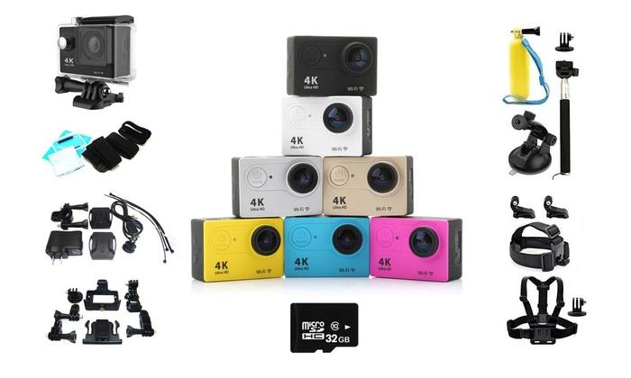 SaleSation - powered by Domexx UG: Wi-Fi Action Kamera 4K Ultra-HD inkl. wasserfestem Gehäuse und mehr Zubehör inkl. Versand (bis zu 73% sparen*)
