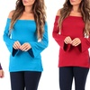 Women's Open-Shoulder Tunic with Bell Sleeves