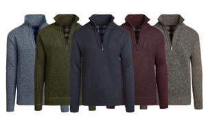 Alta Men's Fleece-Lined Casual Half-Zip Mock-Neck Sweater