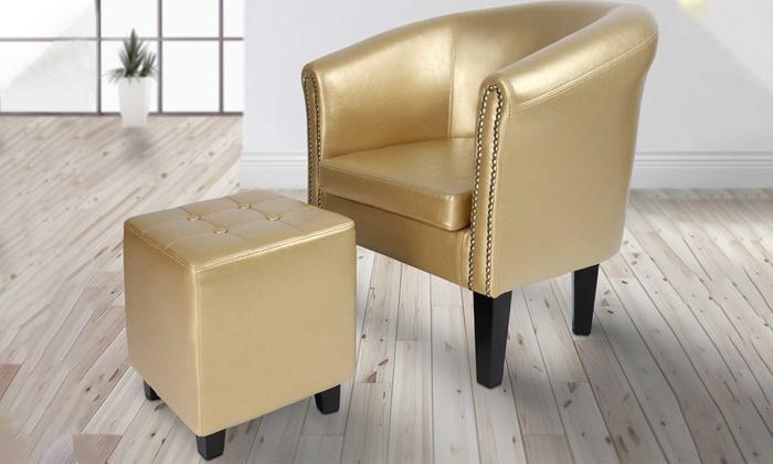 Fantastic Chesterfield Stoel En Krukje Groupon Goods Lamtechconsult Wood Chair Design Ideas Lamtechconsultcom