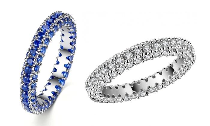 Bague Eternity Clear Crystal en goldfilled 10 carats et Saphir de synthèse à 2990€ (92% de rduction)