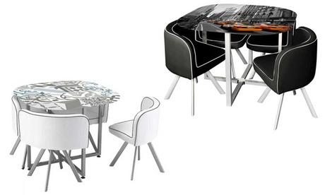 Conjunto de mesa y 4 sillas Mely