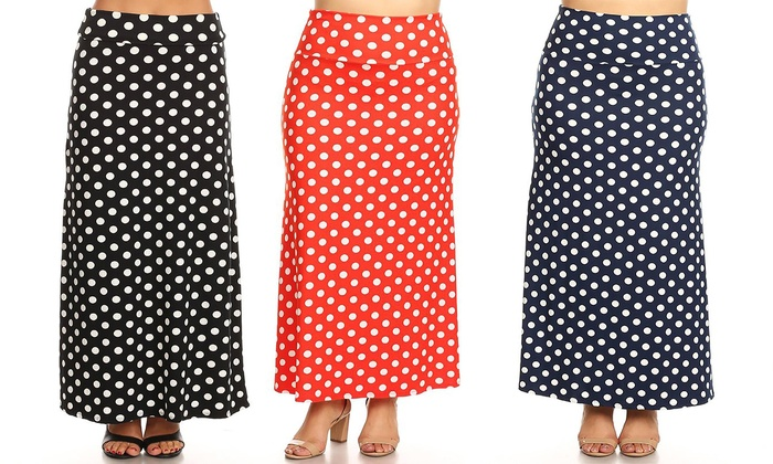 0faa24c7b MOA Collection Polka Dot Flared Maxi Skirt. Plus Sizes Available.
