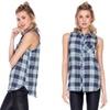Women's Sleeveless Plaid Button-Down Top