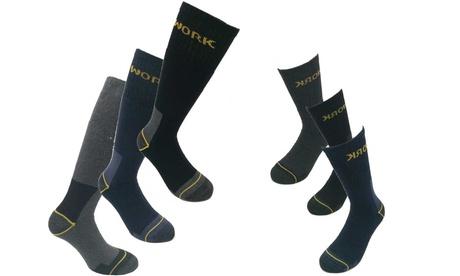6 o 12 paia di calzini da lavoro lunghi e corti rinforzati
