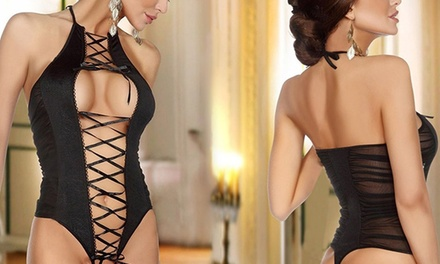Body fendu noir façon corset