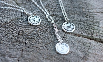 image for One, Two, or Three Personalized Wax-Seal Initial Necklaces from KraftyChix (Up to 76% Off)