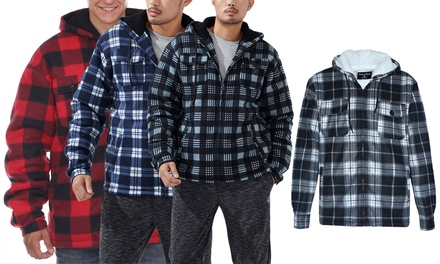 Lee Hanton Men's Hooded Sherpa Lined Fleece Plaid Jacket (S-5XL)