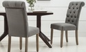Modern Roll-Top Button-Tufted 2Pc. Dining Chair Set