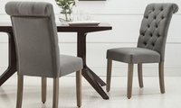 Modern Roll-Top Button-Tufted 2-Piece Dining Chair Set (Multi Colors)