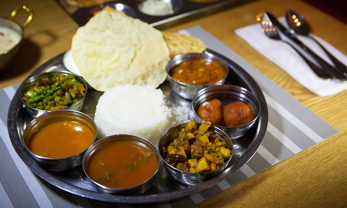 Dosai - Dosai: Michelin-Starred Chef Hemant Mathur's Vegetarian Thali Entrees and Lassi for Two or Four at Dosai (Up to 49% Off)