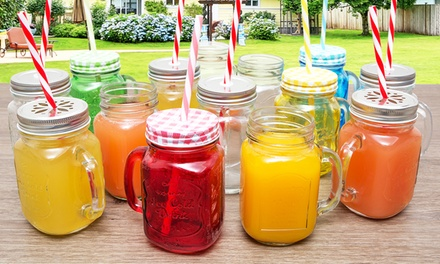 Four or EightPiece Set of Mason Glass Jars with Optional Lid and Straw