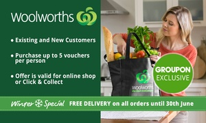 Woolworths Online: Woolworths Online: $5 for $30 to Spend on Groceries - Min. Spend $120 - Existing & New Customers