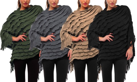 Womens Ruffle Knitted Poncho