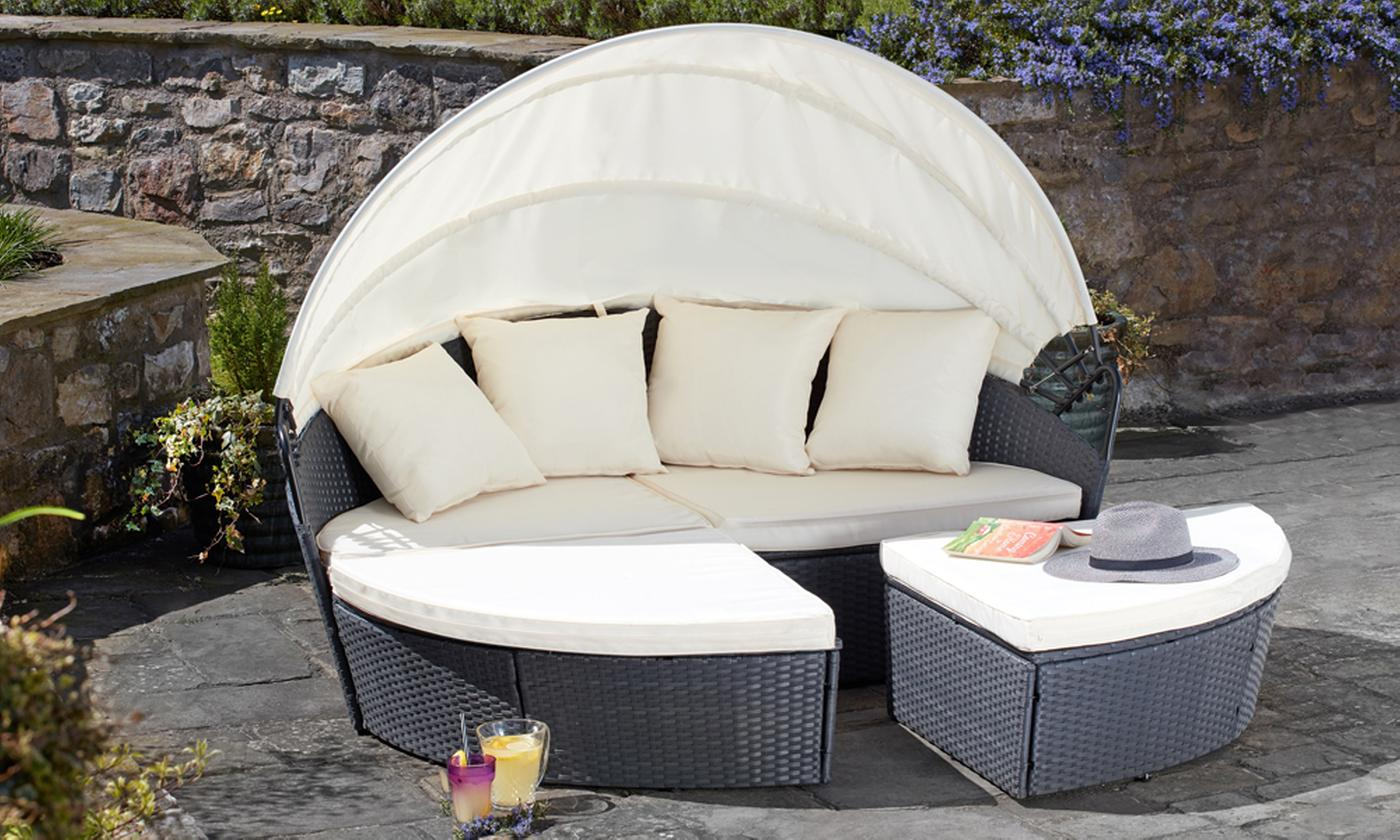 Rattan-Effect Sun Island with Optional Cover in Choice of Size and Colour (£389.99)