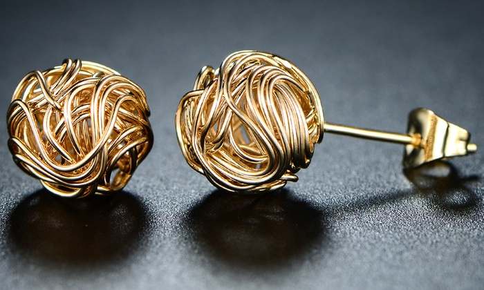 Dont Have Gold Plated Health Plan Why >> Up To 65 Off On Love Knot Stud Earrings Groupon Goods