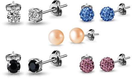 1 o 5 paia di orecchini con cristalli Swarovski®, perla d'acqua dolce o cristalli shamballa