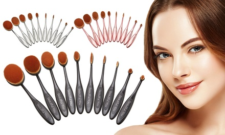 Set van 5 of 10 ovale makeup kwasten